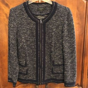 🦋Talbots navy and ivory woven sweater jacket 18W
